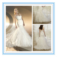 This Whimsical Designer Fit-and-Flare Wedding Gown Features A Bodice with Lace Under Tulle Bridal Chic Wedding Dress (WDES-1006)
