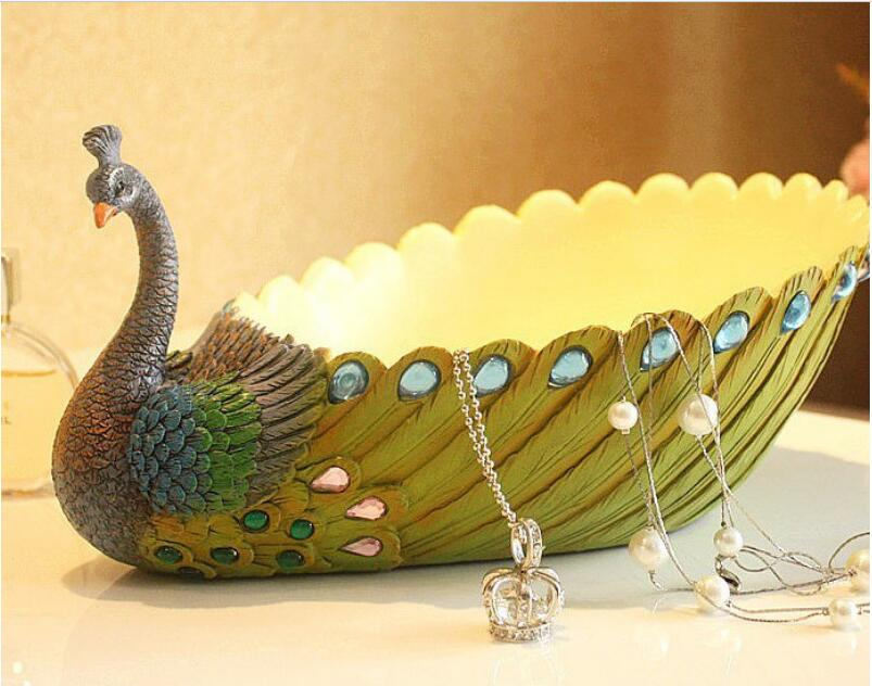 polyresin craft home decoration pieces plate india peacock