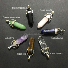 Wholesale Gemstone Rock Crystal 7 Chakra Pendant Two Hexagonal Point Pendant