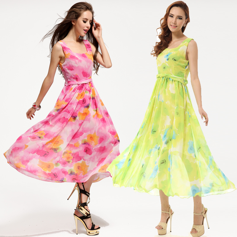 2015 Women's clothing Dresses Ropa Mujer beach print Chiffon long dress Straight Sleeveless o-neck mid-Calf  Bohemian
