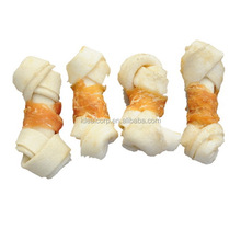 Bleached Rawhide Knotted Bone With Chicken Wrapping Dog Chew Pet Treat