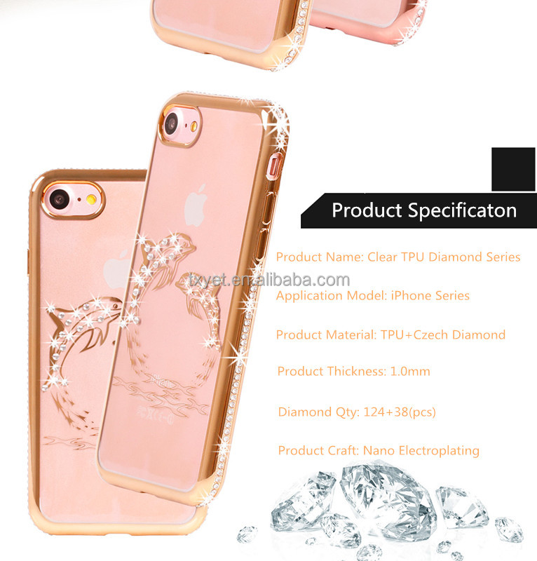 hot selling new product diamond tpu phone cover clear thin tpu frame case for iphone6