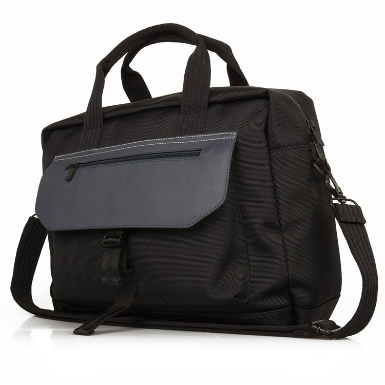 Cheap big size multi-compartments black customized nylon leather laptop tote briefcase