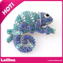 Chameleon Brooch Royal Blue Chamelion Broach Sapphire Crystal Reptile Jewelry for Camelion Lover DIY Craft Embellishment