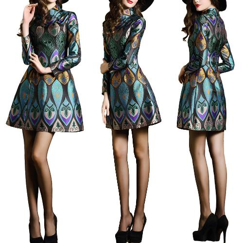 New Women Mini Cheongsam Dress Floral Print Long Sleeves Zipper Traditional Chinese Oriental Vintage Dress Green