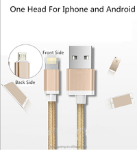 Hot sale! Multifunctions for Android and IPhone 2 in 1 two side metal usb cable in one head