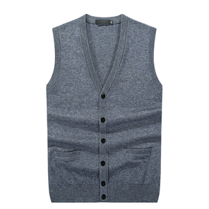 100% cashmere v neck knit winter thick sweater cardigan vest for man
