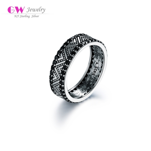 Globalwin 925 silver china black cz rings custom initial rings for men and women