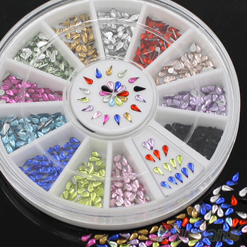 12 colors 3mm waterdrop nail rhinestone 3D nail art decoration sticker with wheel