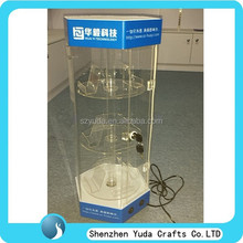 Wholesale showcase for mobile phones, acrylic cell phone display case with led