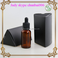 Trade assurance brown 30ml glass bottle with dropper for e juice with new design triangle paper boxes