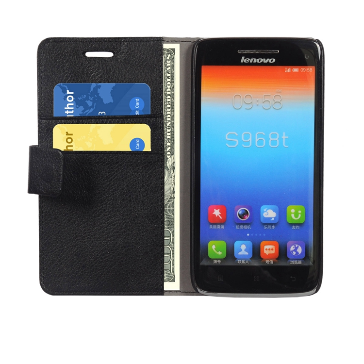 Big promotion cheap pricePremium Leather Flip Bracket Wallet Case <strong>Cover</strong> for Lenovo VIBE X S960 Wallet case