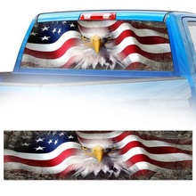 AMERICAN FLAG EAGLE Grim Reaper Cemetery Rear Window Graphic Tint Decal Decoration Car Decor Sticker for Suv Pickup Truck Crow