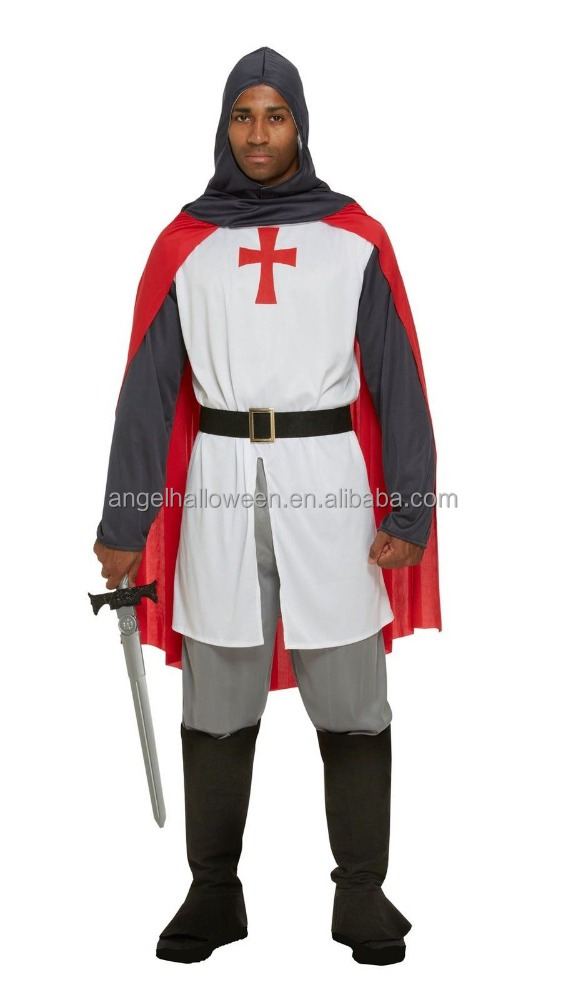 Mens deluxe adult knight St George england crusader medieval fancy dress costumes AGM2905