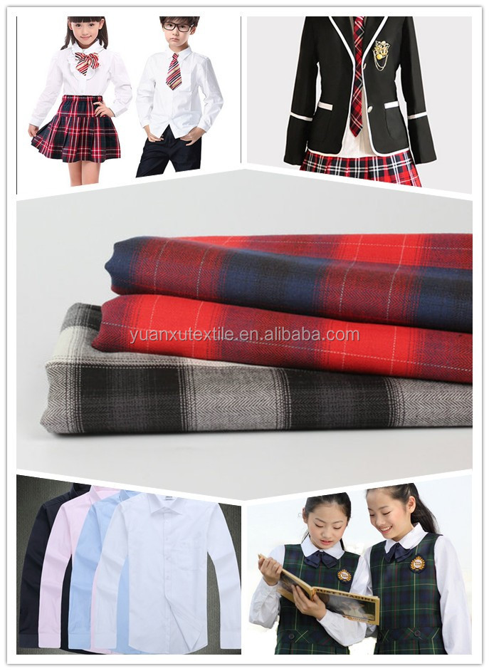 New fashion TR worsted woven fabric in check for school uniforms