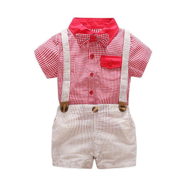kids baby boy clothing sets for summer infant baby boy clothes set brand suit tops t-shirts + suspender shorts
