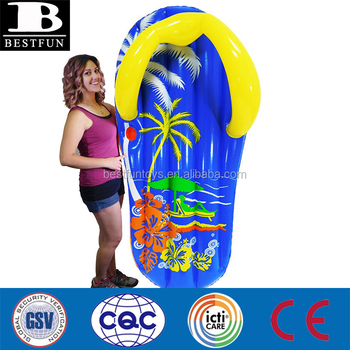 top quality inflatable flip flop sandal pool lounge durable inflatable flip flop pool float with drink holder