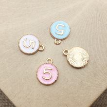 metal alloy enamel numbers charms pendant tags for bracelet jewelry accessories custom metal number charms