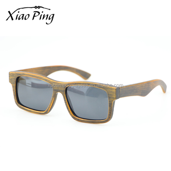 China factory vintage custom logo grey lens polarized bamboo sunglasses