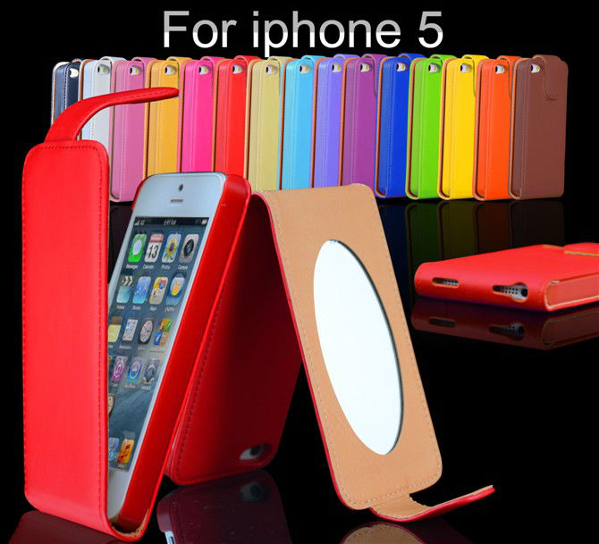 Wholesales High Quality Flip Magnetic PU Leather Case with A Great Mirror Inside for Apple iPhone 5 5S