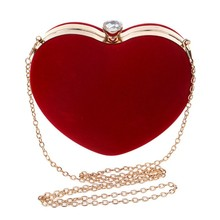 Fashion Women Handbags Flannel Heart-shaped Exquisite Lady Evening Party Bags