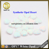 OP17 Heart Cabochon Wholesale Synthetic White Opal