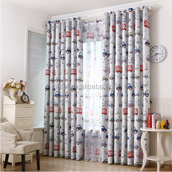 Custom car 100% polyester fabric 3d printing kids bedroom blackout curtain