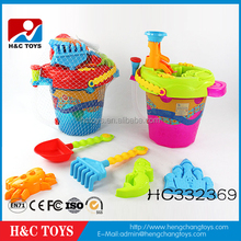 Wholesale summer toy plastic 8pcs beach toy set with sand bucket HC332369