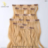 most popular super quality too thick light color wholesale virgin double drawn curl clip in hair extension