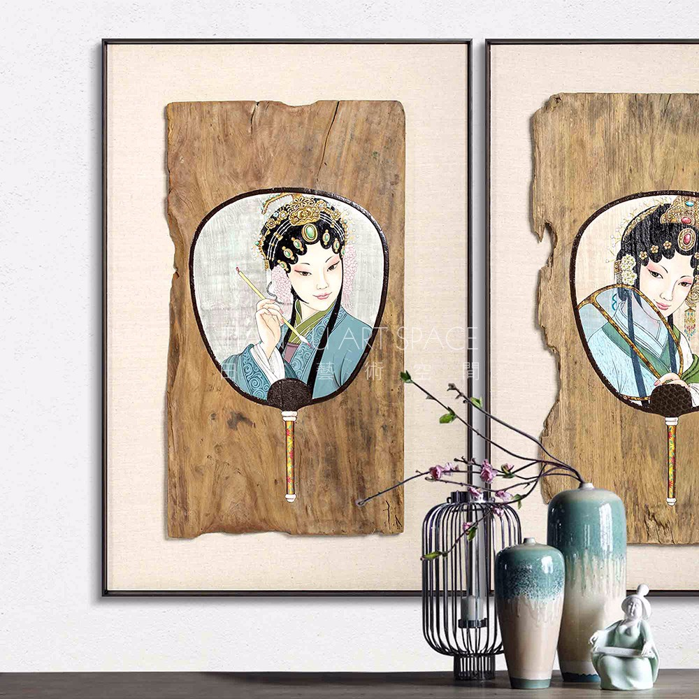Retro style wood wall art hot girl picture with fan chinese traditional drawing