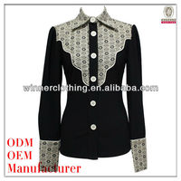 foldable collar slim fit long sleeve hand work blouse designs with embroidery