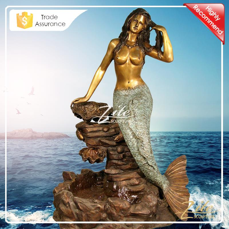 High Quality Life Size Bronze Nude Naked Mermaid