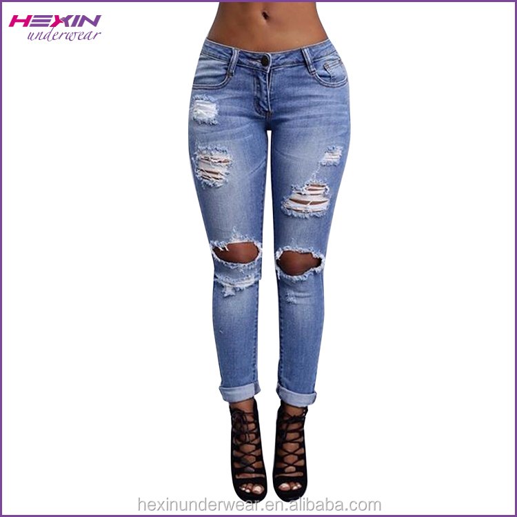 Light Blue Washed Wholesale Plus Size Ripped Jeans For Women