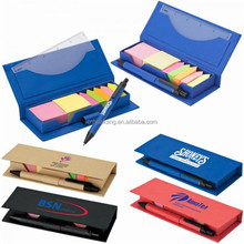 Eco friendly sticky note holder,memo case with pen