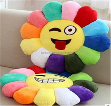 Creative qq expression sunflower pillow stuffed smiling face baby seat car cushion pillow