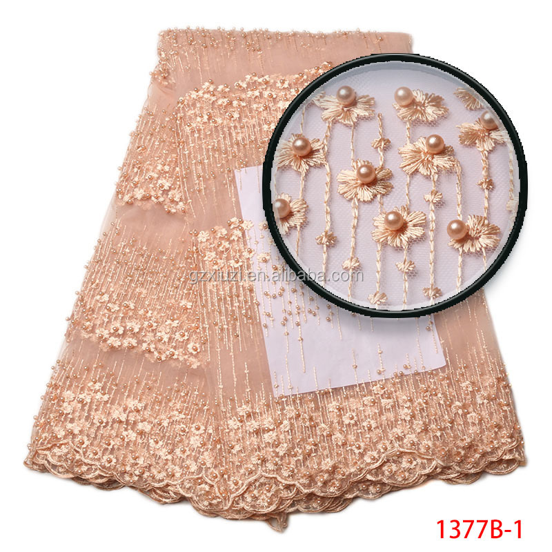 Popular Fashion Style Plain Color Tulle Lace African Peach Beaded Embroidery French Lace Fabric