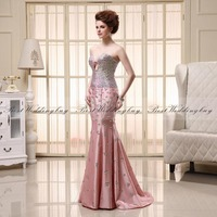 Real Image Sexy Luxury Crystal Prom Pageant Party Evening Dresses With Sweetheart Backless Mermaid Long