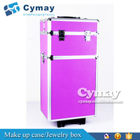 Customized trolley case makeup case with lighted mirror leather cover two layers