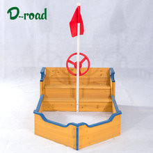 Easily assemble eco friendly boat kids wooden sandbox for backyard