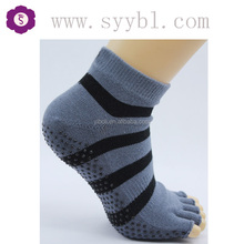 knitted cotton invisible toe socks gray with black stripes open toe yoga/pilates socks