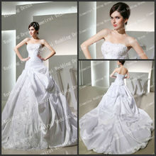 Terrific Strapless Ball Gown White Lace Satin 2013 Wholesale Real Sample Bridal Dresses