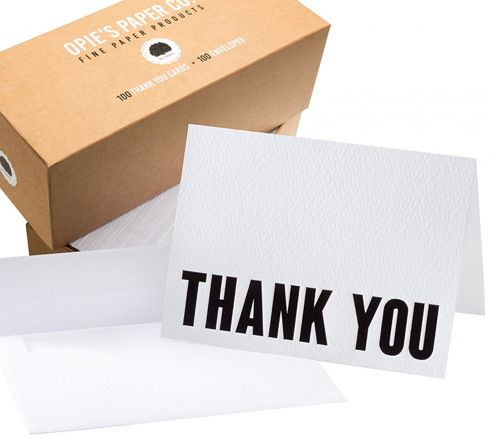 Thank You Letterpress Cards Pack Of 100 Gold Text On White Paper