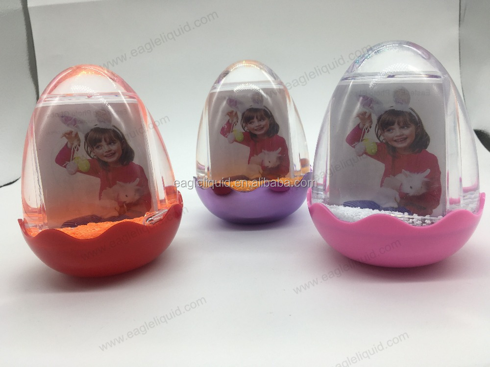Easter egg photo picture frame snow globe with light and music