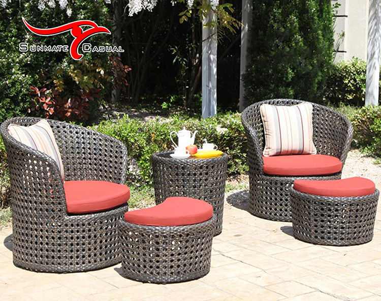 Outdoor Furniture Garden Yard Rattan Wicker Lounge Sofa Chair With Round Coffee Table