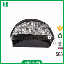 Promotional eco friendly pvc net cosmetic makeup bag/mini pu stitching travel beauty case