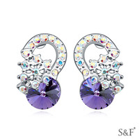 16925 Rhodium plated no hole earring