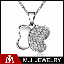 Luxury Silver Diamond Butterfly Charm Necklace Women CZ Crystal Pendant