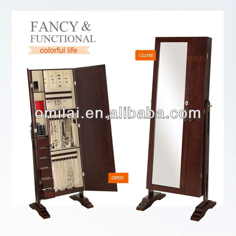Double door Jewelry Armoire livingroom furniture with mirror and cabinet drawers