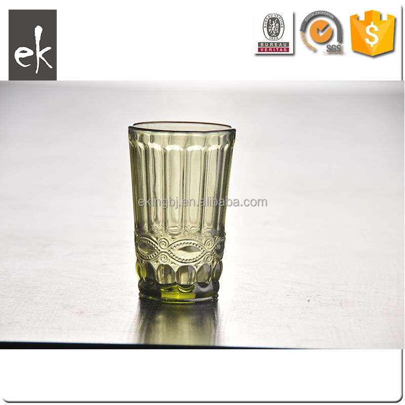 Crystal Embossed Water Pitcher Glass Cup in Diamond Pattern By Hand Pressed