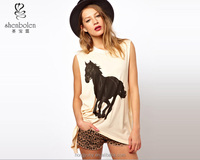 horse print top for women, horse print t-shirts for women for OEM service in 2014